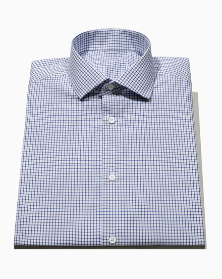 Men's Navy Check Dress Shirt / 1361