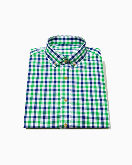 Blue Green Two-Tone Gingham / 1491
