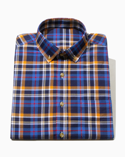 Brushed Orange Blue Plaid / 1577